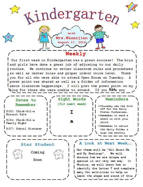 printable kindergarten newsletter template templates