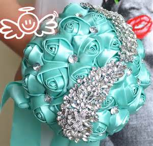 eBay Turquoise Rose Wedding Bouquets with Crystals