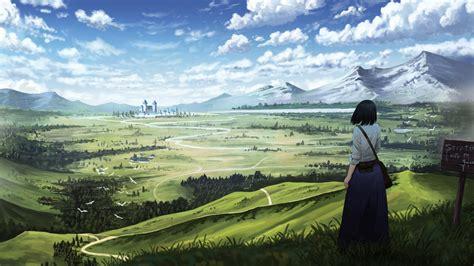 wallpaper anime girl castle  art