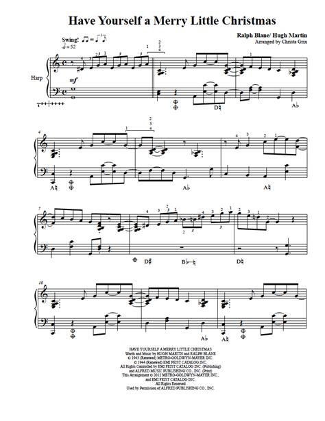 Have Yourself A Merry Little Christmas  Harp Column Music