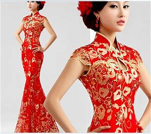 Red Lace Fishtail Cheongsam Dress Toast Clothing Slim 9212 ...