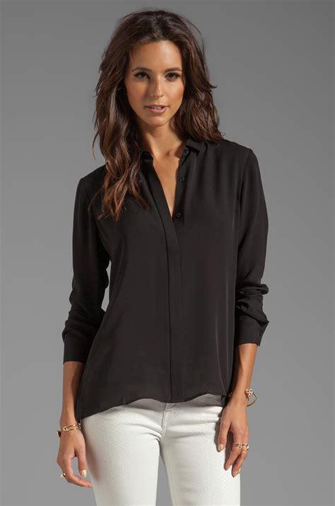 theory silk blouse theory driya silk blouse in black revolve