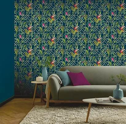 Arthouse Deco Navy Tropical Metallic Floral Birds