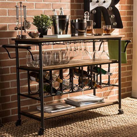kitchen cart with wine storage baxton studio bradford black and medium brown wine cart 8193