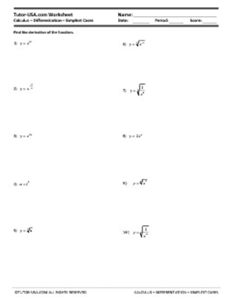 Worksheet Derivatives  Simplest Cases And Radicals  Calculus Printable