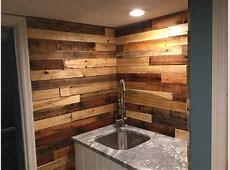 Pallet Wood Backsplash Rustic Home Bar Columbus by