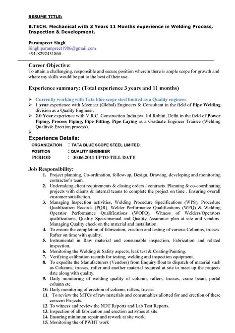 Editable Welding Resume Template - PDF Format | e-database.org