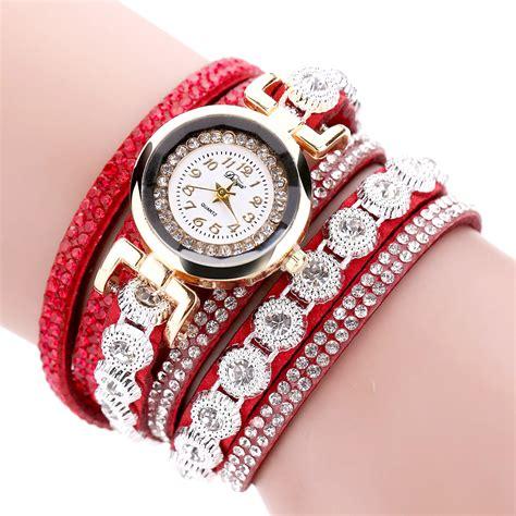 jam tangan g shock 7 pilihan warna jam tangan wanita model gelang rhinestone dy038 white