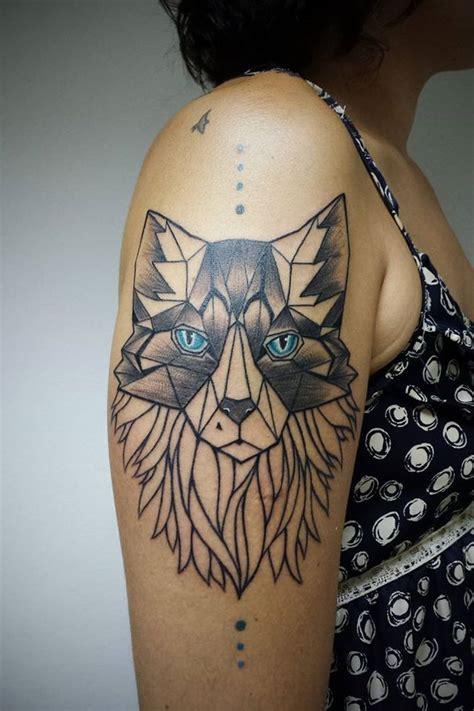geometric wolf tattoo  aline wata design  tattoosdesign  tattoos