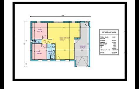 plan plain pied 2 chambres maison 60m2 plan de maison m with maison 60m2