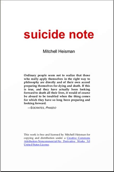 suicide note  mitchell heisman reviews discussion