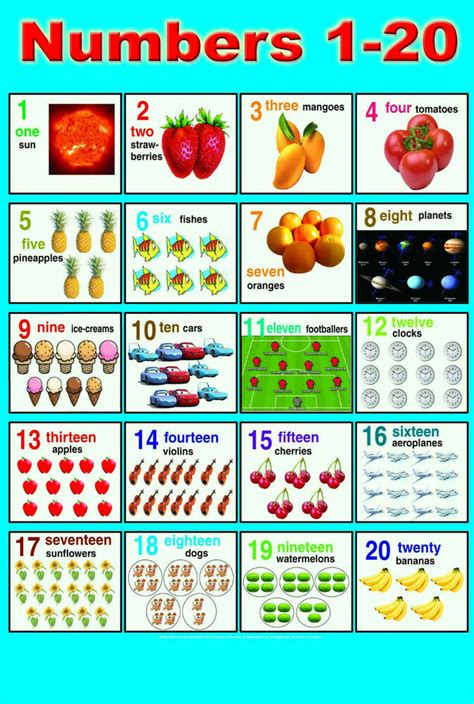 laminated numbers 1 20 children learning educational 507 | s l1000