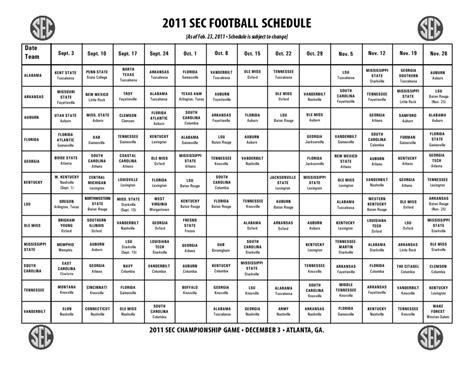 complete sec football schedule  released   team
