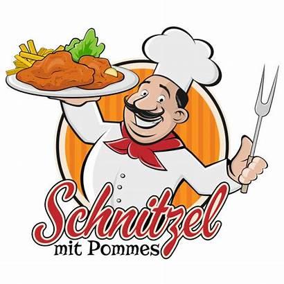 Schnitzel Clip Vector Pommes Mit Chef Illustration