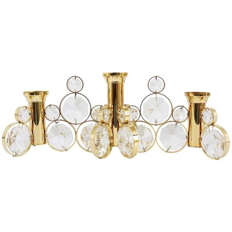 Palwa Brass And Crystals Candle Holder In The Style Of