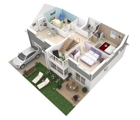 plan de maison 60m2 3d