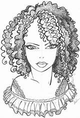 Coloring African Afro Drawing Printable Adult Natural Colouring Famous Draw Illustration Adults Template Hairstyles Ethnic Melissa Blank Mandala Princess Illustrations sketch template