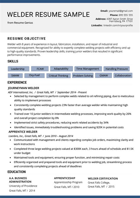 welder resume exle writing tips resume genius