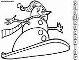 Snowboard Coloring Colorings sketch template