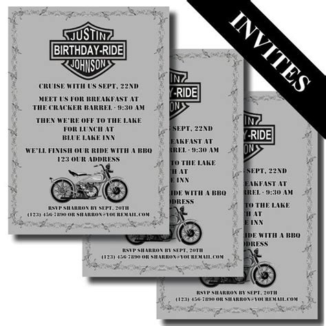 printable motorcycle invitations