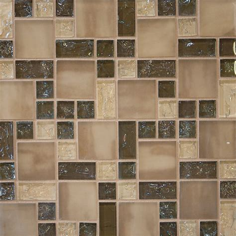 10sf Brown Crackle Glass Mosaic Tile Kitchen Backsplash