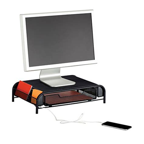desk organizer monitor stand safco usb powered onyx mesh desk organizer monitor stand