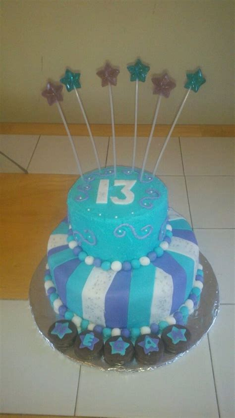 13Th Birthday Teal Purple Stripes - CakeCentral.com