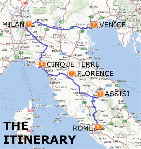 italy  train   week itinerary