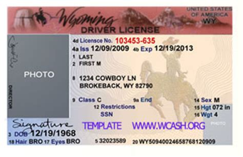 wyoming drivers license psd template photoshop