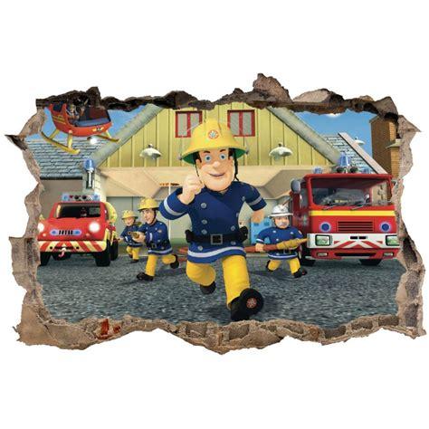 chambre garcon pompier stickers trompe l 39 oeil 3d sam le pompier réf 23276