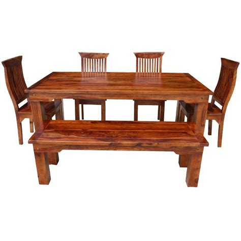 rustic solid wood casual dining table chair set w bench