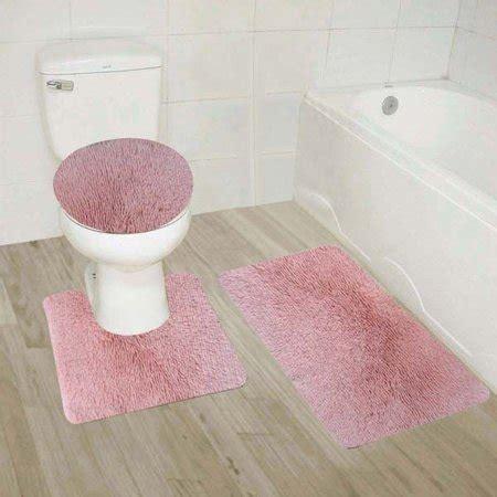 light pink  piece shiny soft plush bathroom mat set