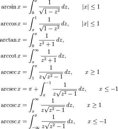 \begin{align}\arcsin X &{}= \int0^x \frac {1} {\sqrt{1