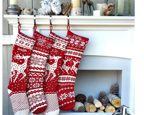 knitted christmas stockings red white