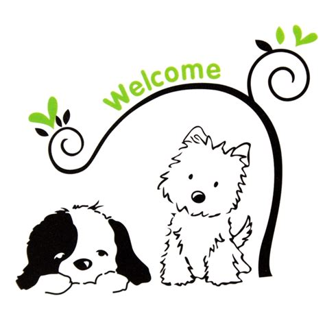 Cat Dog Welcome Wall Stickers Removable Wall