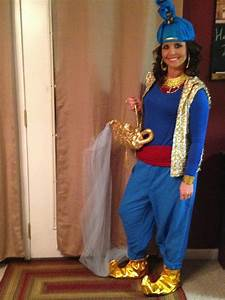 Aladdin Genie Costume DIY...large pants pegged at bottom, blue fitted long sleeve shirt, red ...