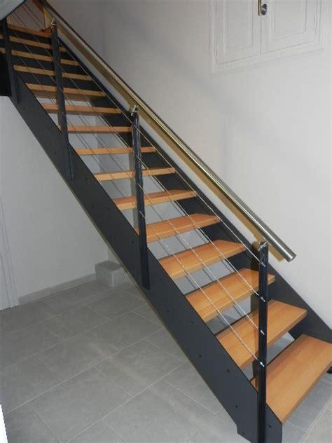 courante inox escalier escalier contemporain m 233 tal courante inox marche bois ardeche 07