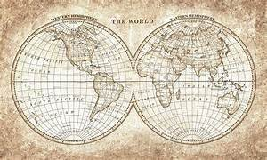Old World Map vintage hand painted for printing and clip art
