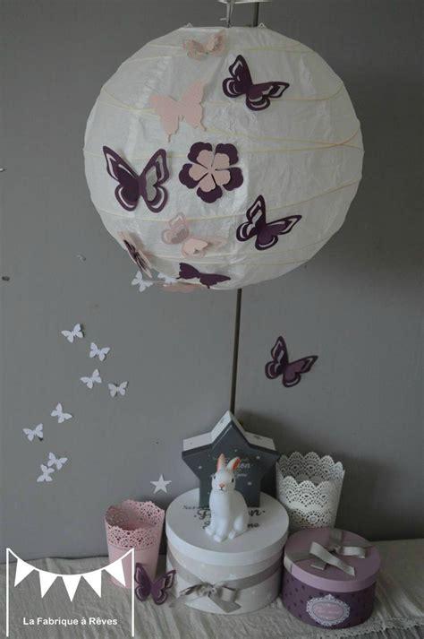 luminaire pour chambre bébé luminaire suspension abat jour papillons fleurs violet