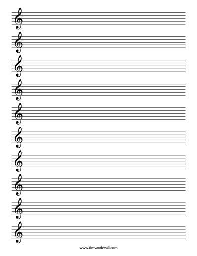 Treble Staff Paper Template by Printable Staff Paper Teaching Music Pinterest Music