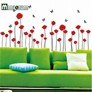 wall decal beautiful poppy wall decals red poppy wall With perfect reflective wall decals ideas to sparkle your rooms