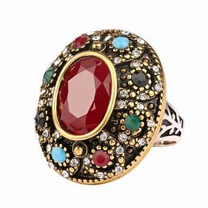 luxurious oval big ring turkey jewelry vintage look inlaid With big oval wedding rings