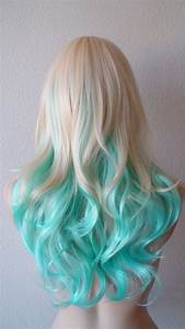Blonde Teal Ombre Wig Medium Length Curly Hair Long Side