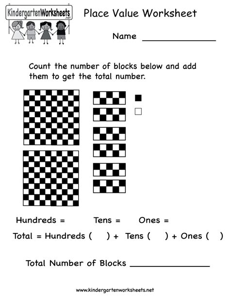 place value worksheet free kindergarten math worksheet