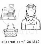 Cashier Clipart Register Vector Royalty Sketched Basket Graphics Cashiers Clerk Outline Poster Cartoon Female Rf Illustrations Tradition Sm Clipartof sketch template