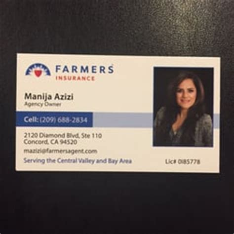 See more of farmers insurance on facebook. Manija Azizi - Farmers Insurance Agency - Insurance - Manteca, CA - Phone Number - Yelp