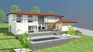 plan maison contemporaine sur terrain en pente With maison avec sous sol sur terrain en pente