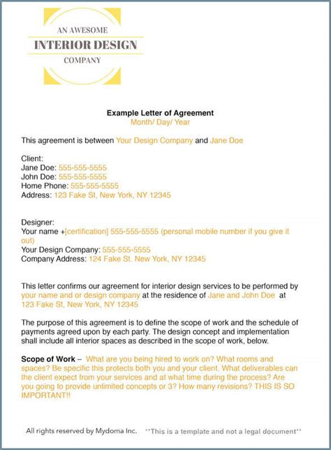 interior design contract template how to write an interior design letter of agreement or