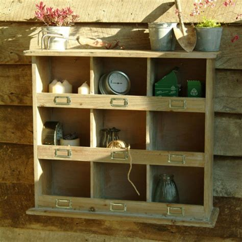 square rustic wooden pigeon hole unit garage wooden