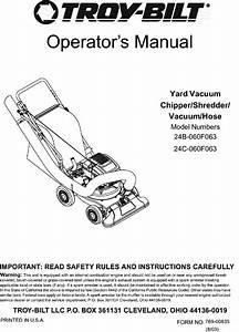 Troybilt 24c 060f063 User Manual Yard Vacuum  Chipper